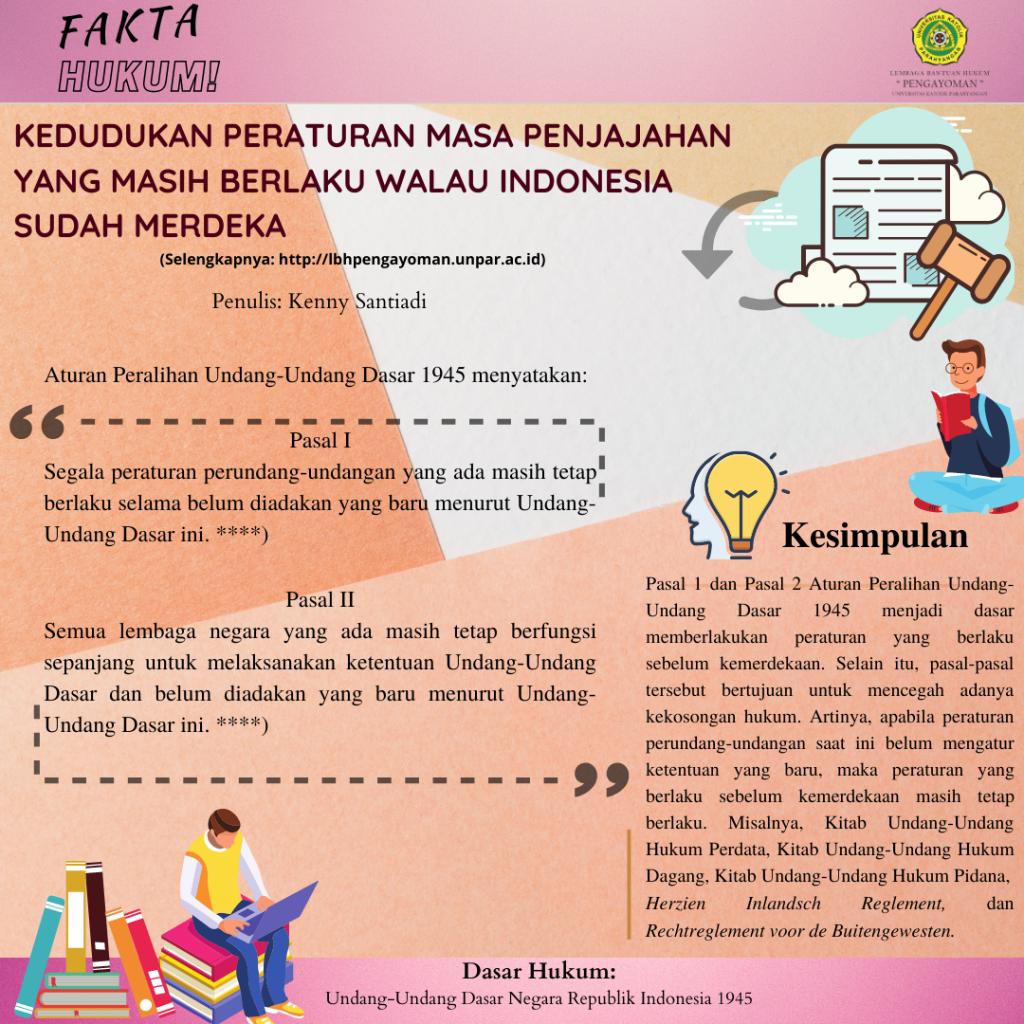 KEDUDUKAN PERATURAN MASA PENJAJAHAN YANG MASIH BERLAKU WALAU INDONESIA SUDAH MERDEKA